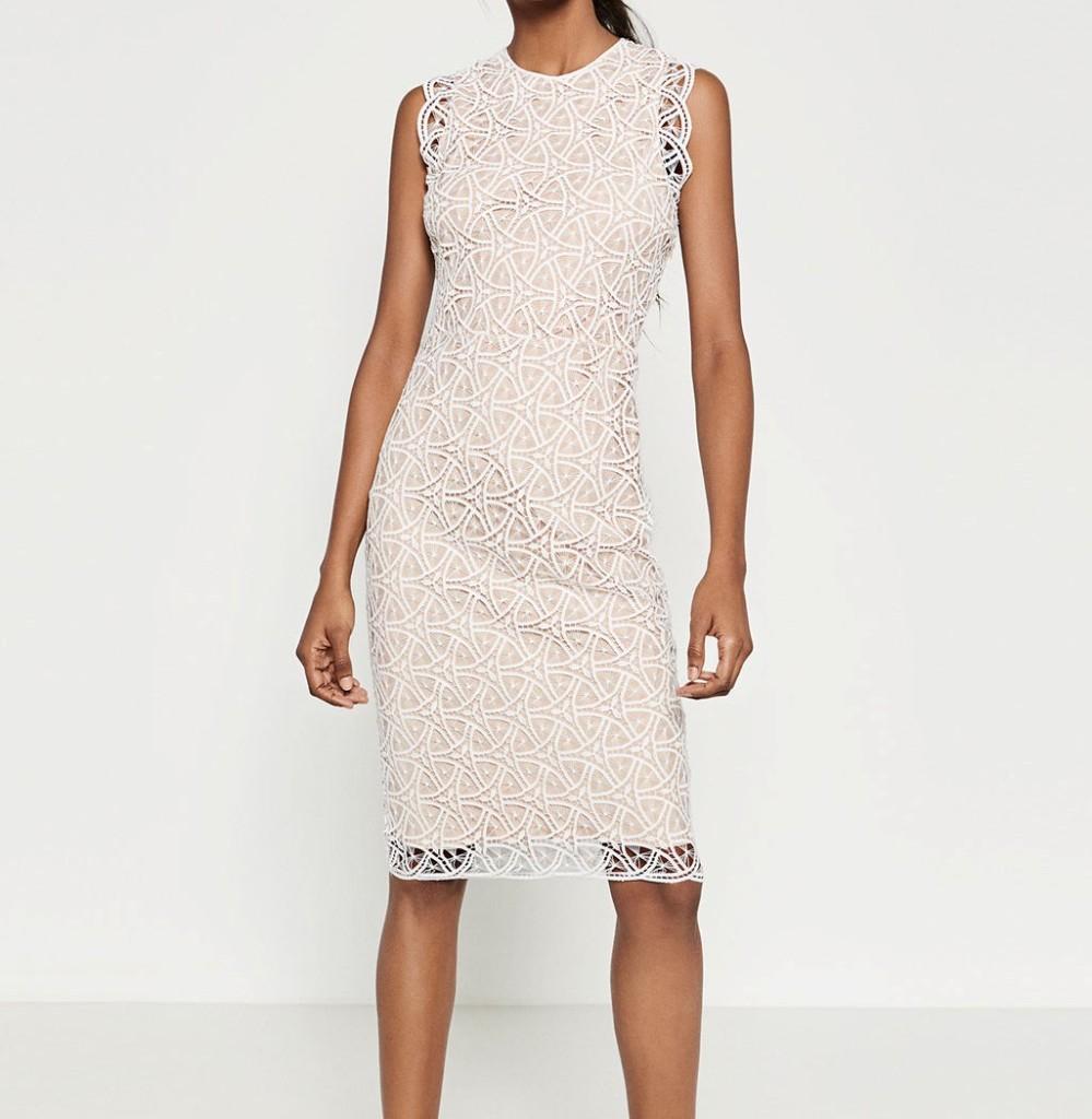 5fbb221627d7 ... Zara tubino bianco in pizzo  Zara abito ...