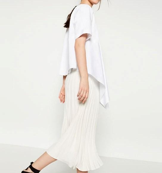 new styles 8a14f 92418 Zara gonna midi plissé bianca - UnaDonna.it il magazine ...