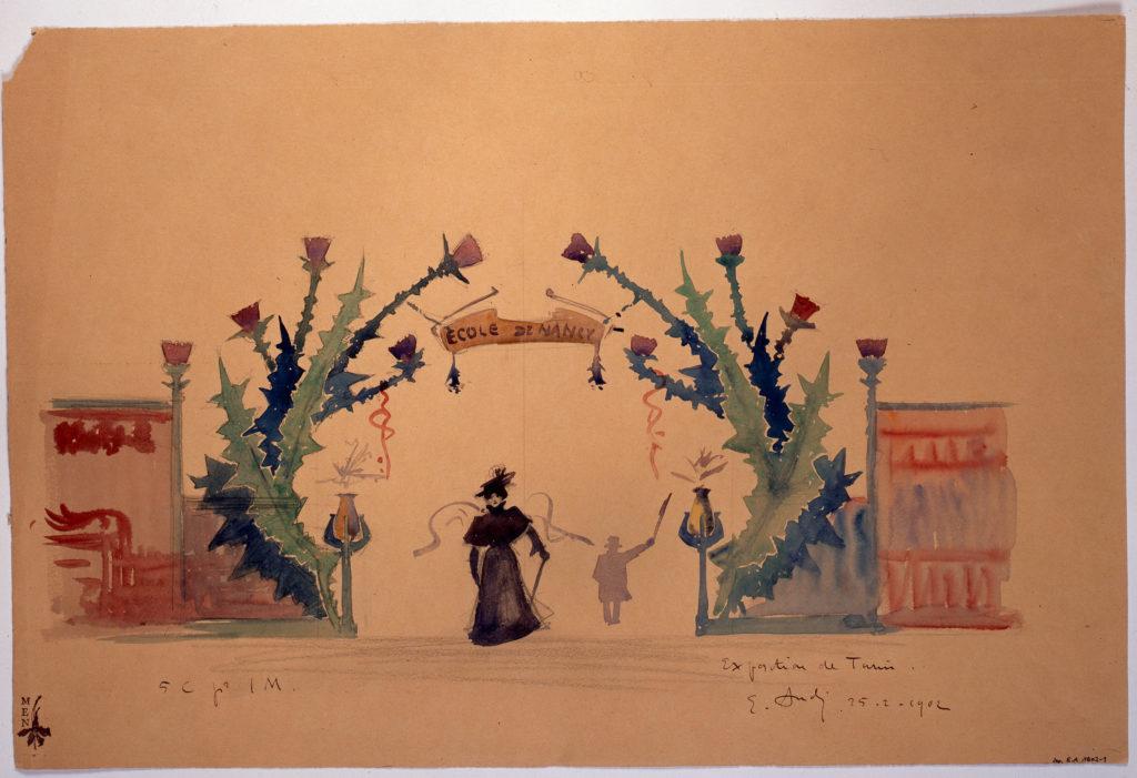 Émile André Uno dei sei progetti di portico per la mostra della Ecole de Nancy a Torino, 1902 Acquarello e matita su carta, 47 x 38,2 © Musée de l'Ecole de Nancy - Villa Majorelle