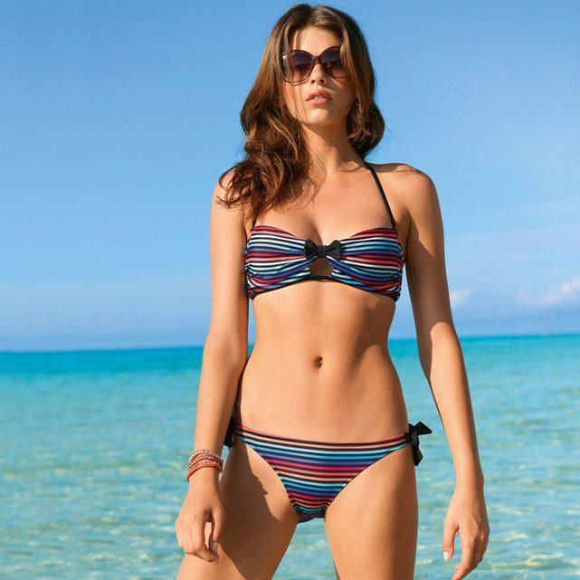 Bikini a righe con reggiseno e slip combinabili La Redoute.
