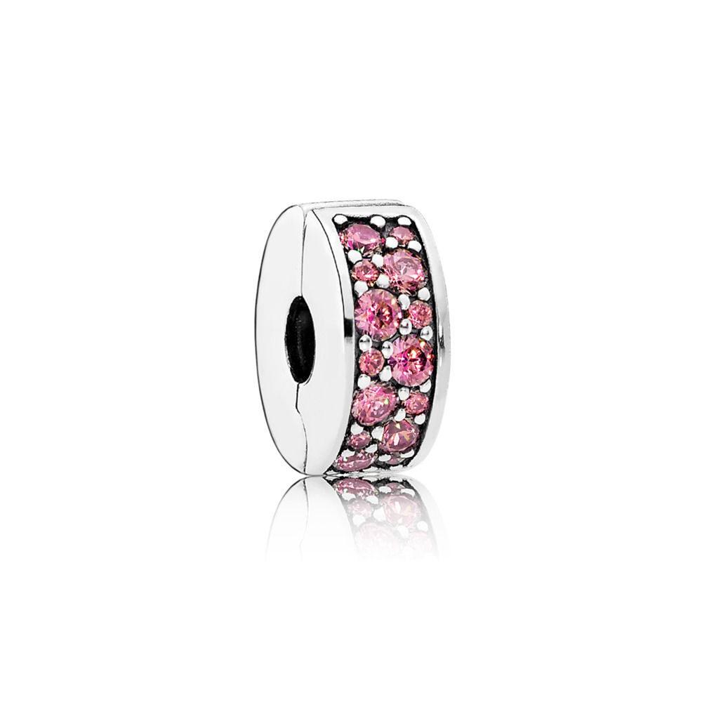 Clip a disco Eleganza Luccicante rosa caprifoglio Pandora.