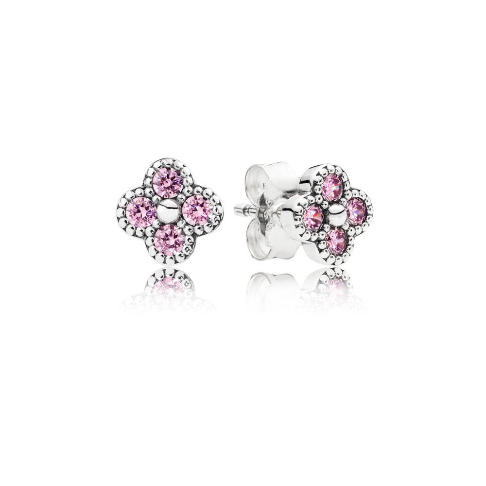 Orecchini da lobo Fiore Orientale rosa Pandora.