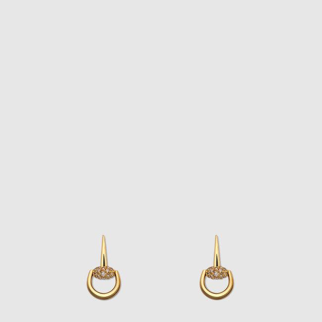 Orecchini horsebit con diamanti, Gucci