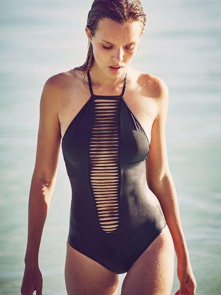 Victoria's Secret costume intero nero High-neck Strappy One Piece