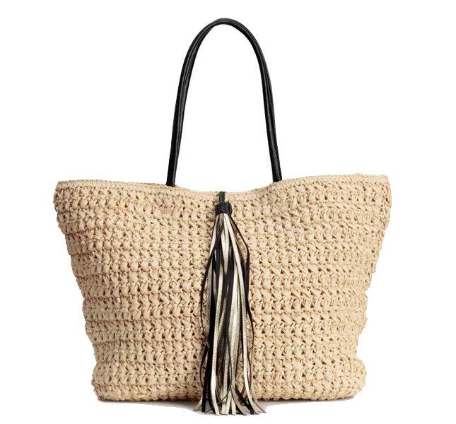 H&M borsa di paglia con nappa
