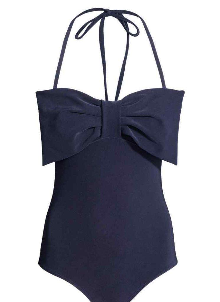 H&M costume intero blu con maxi fiocco