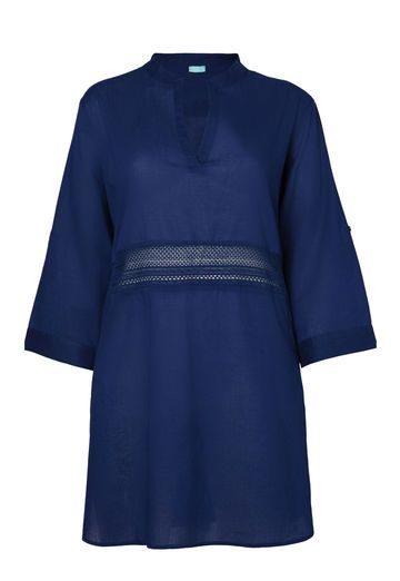 Oviesse kaftano blu in cotone con spacchi laterali