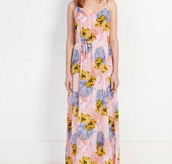 Oysho vestito lungo smanicato con stampa tropicale