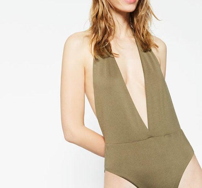 Zara costume intero scollo americana