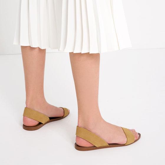 Zara sandalo flat in pelle