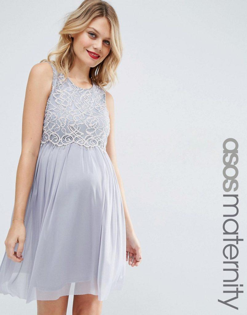 Vestito da cerimonia a pieghe in tessuto a rete con top corto in pizzo delicato, ASOS Maternity