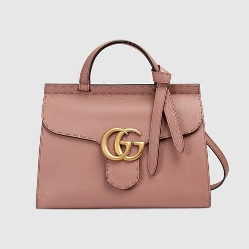Gucci, borsa a mano GG Marmont rosa cipria