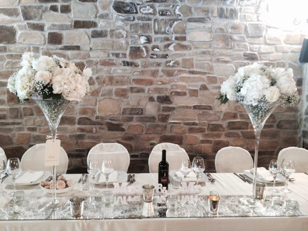 Elegante Centrotavola con Coppe martini Stile Vittoriano per tavolo imperiale - foto di Amiche della sposa wedding Planner.