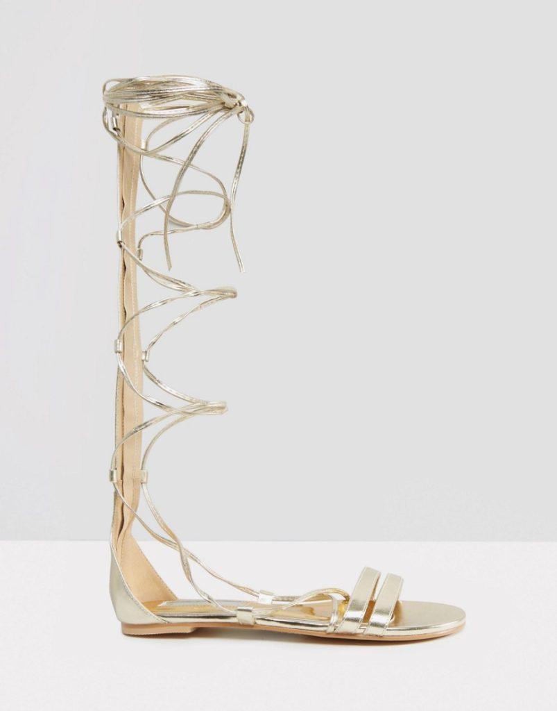 Sandali da gladiatore metallizzati by Daisy Street.