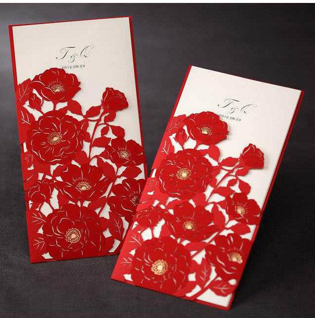 partecipazioni matrimonio con fiori nuance rossa di partecipazionimatrimoniolaser
