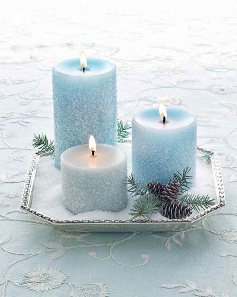 Centrotavola minimal chic con candele martha stewart wedding