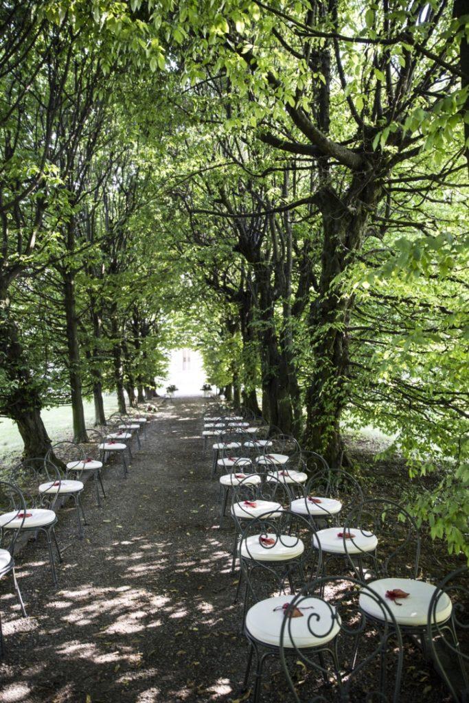 vialetto alberato di Villa Borromeo ove organizzare il Rito simbolico