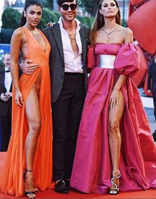 Giulia Salemi e Dayane Mello con lo stilista autore dei loro discussi abiti, Matteo Evandro Manzini.