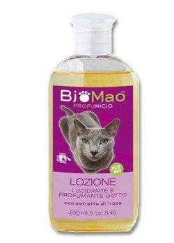 Lozione di BjoMao con effetto lucidante e profumante per il gatto con estratto di rosa. Www.vipforpet.it