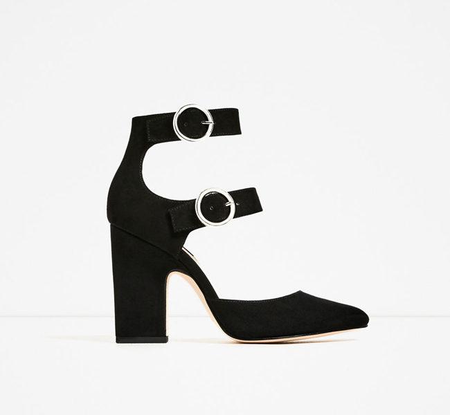 Zara, scarpe con tacco quadrato e fibbie