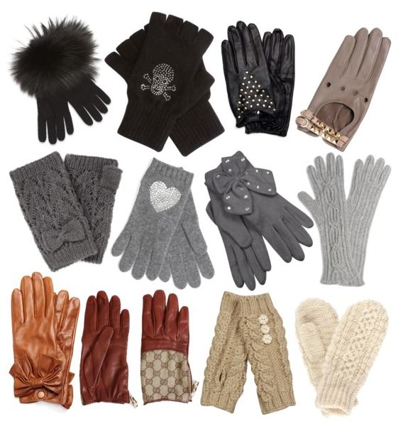 Guanti in lana con pelliccia e guanti in pelle con borchie