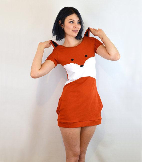 Abito Fox con orecchie, jersey di cotone, di Knickerocker / Etsy