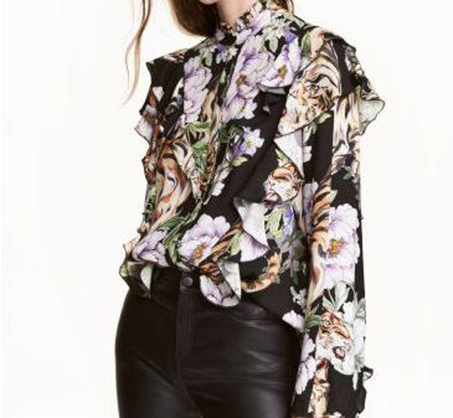 H&M camicia con volants e fiori