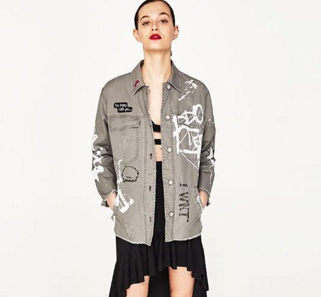 Zara giacca militare con scritte