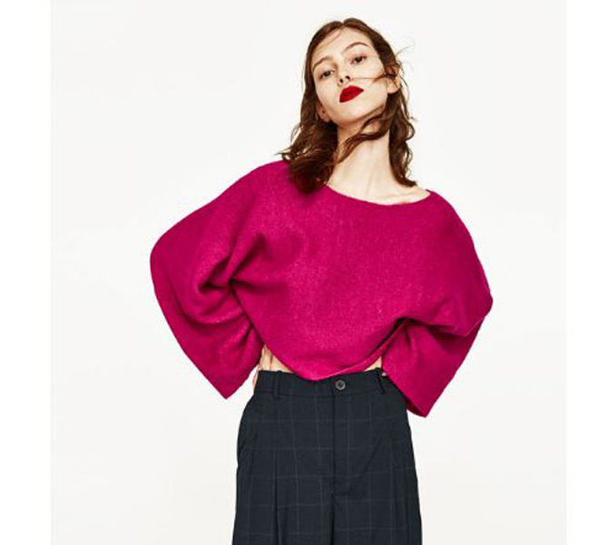 Zara maglione fucsia con maniche over
