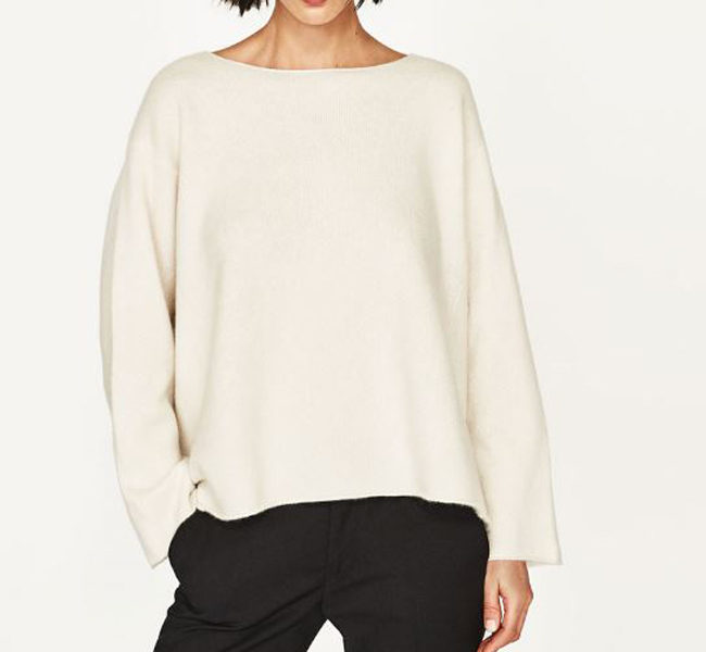 Zara pullover bianco in cachemire con maniche over