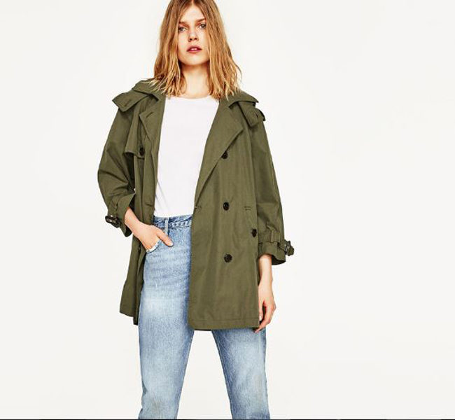 Zara trench doppiopetto verde militare