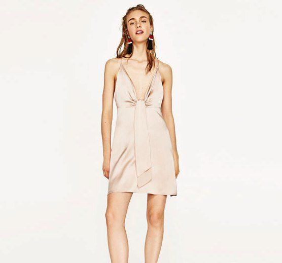 Zara vestito nude con nodo davanti