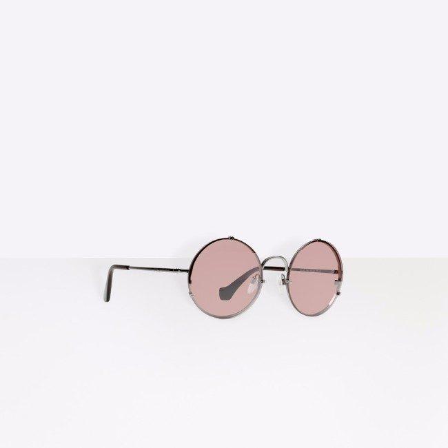 Balenciaga occhiale tondo con lente rosa