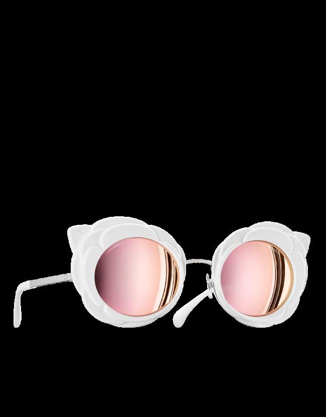 Chanel occhiale da sole tondo con lenti rosa e montatura in total white