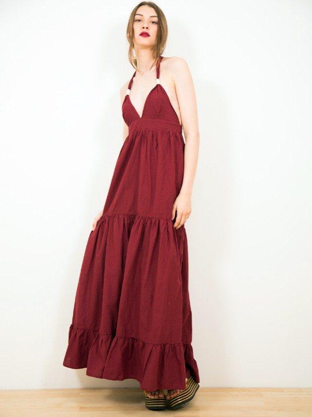 Dixie abito lungo rosso con balze