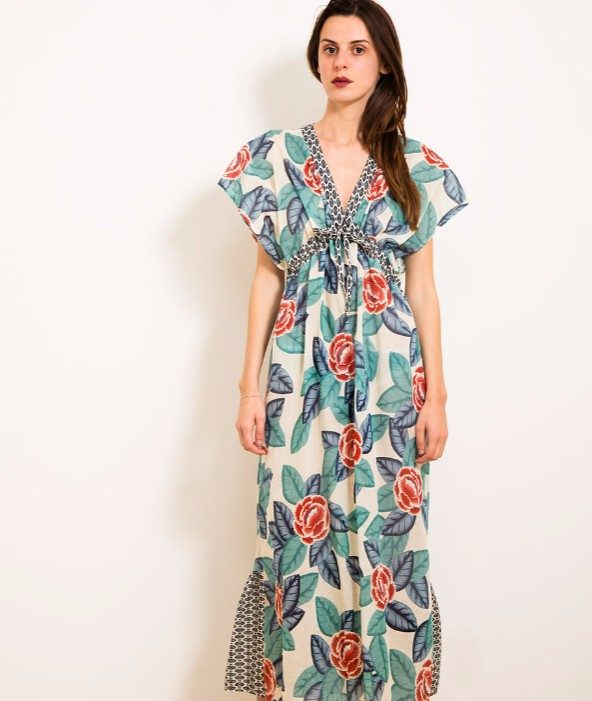 Dixie long dress motivo floreale con balza posteriore