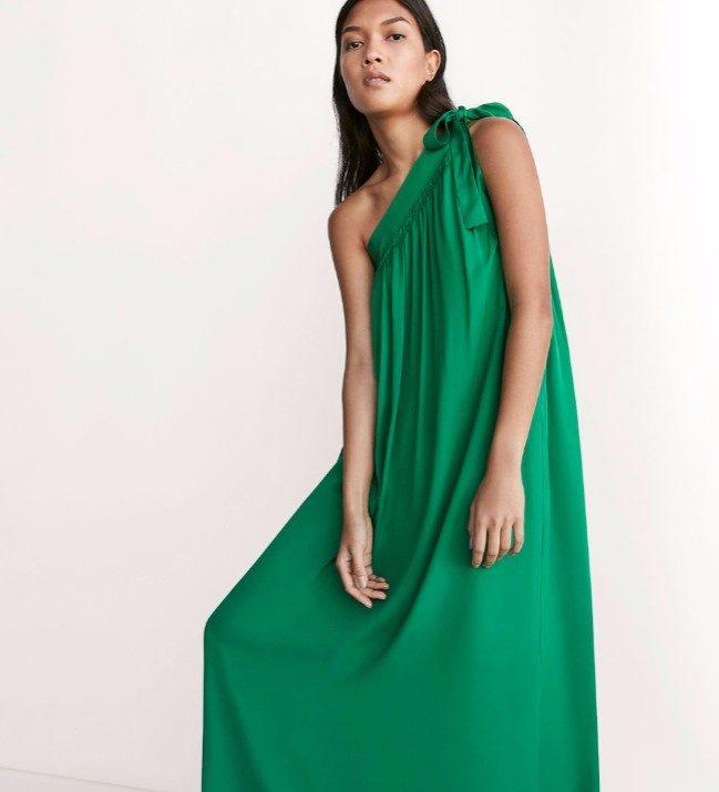 Massimo Dutti vestito asimmetrico verde