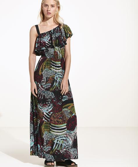 Oysho long dress con decorazione tribale