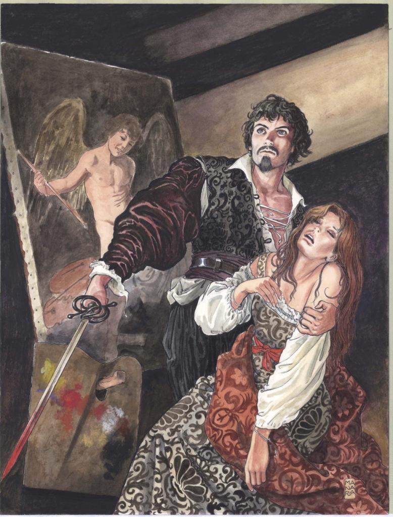 Milo Manara a Palazzo Pallavicini. Caravaggio, copertina del volume I. Sezione Illustrazioni (credits Milo Manara 2017)