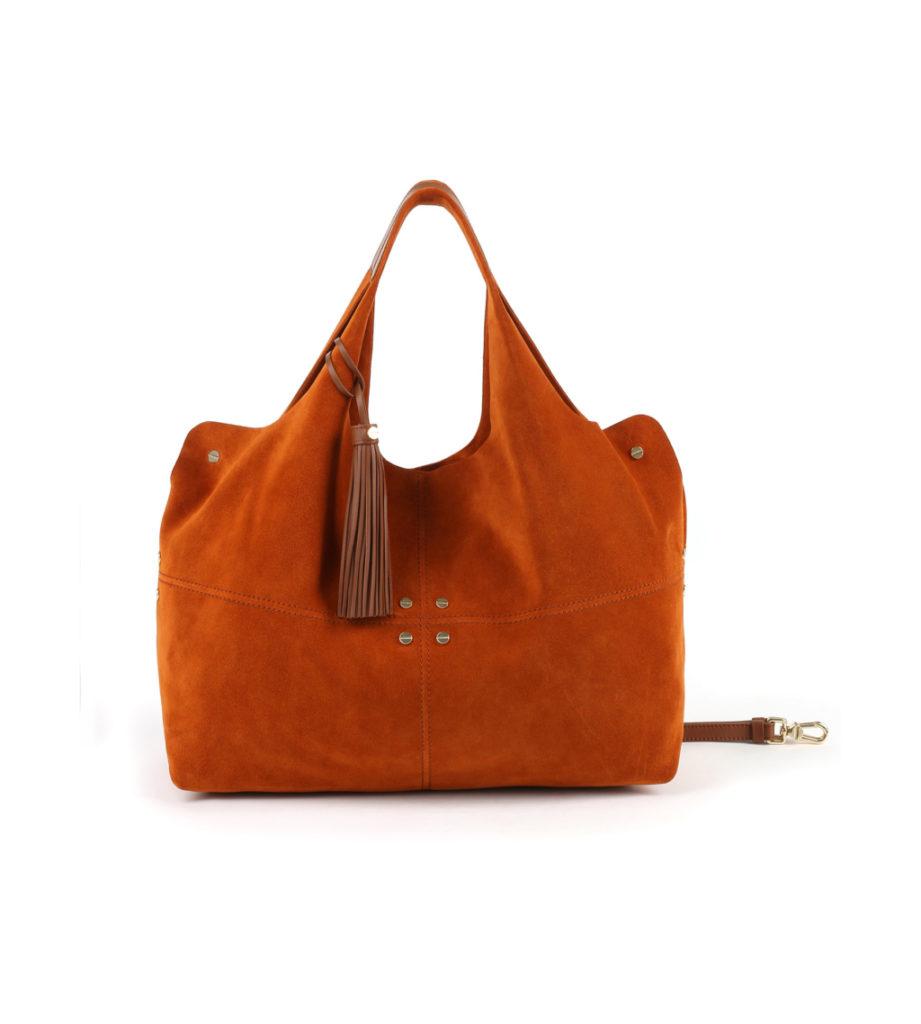 Savile large in pelle scamosciata color arancio Metropolitan by Borbonese.