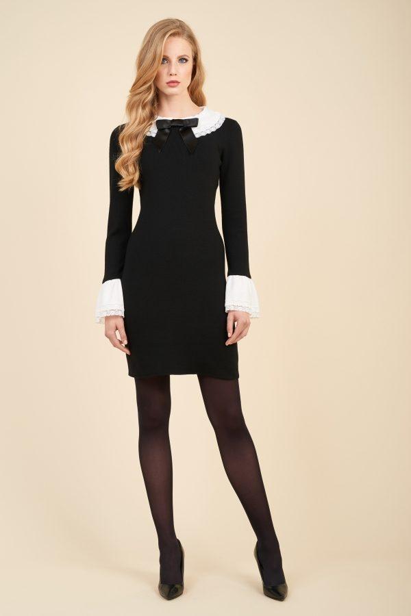 Luisa Spagnoli, abito Mandevilla un lana con colletto e polsini in contrasto di colore.