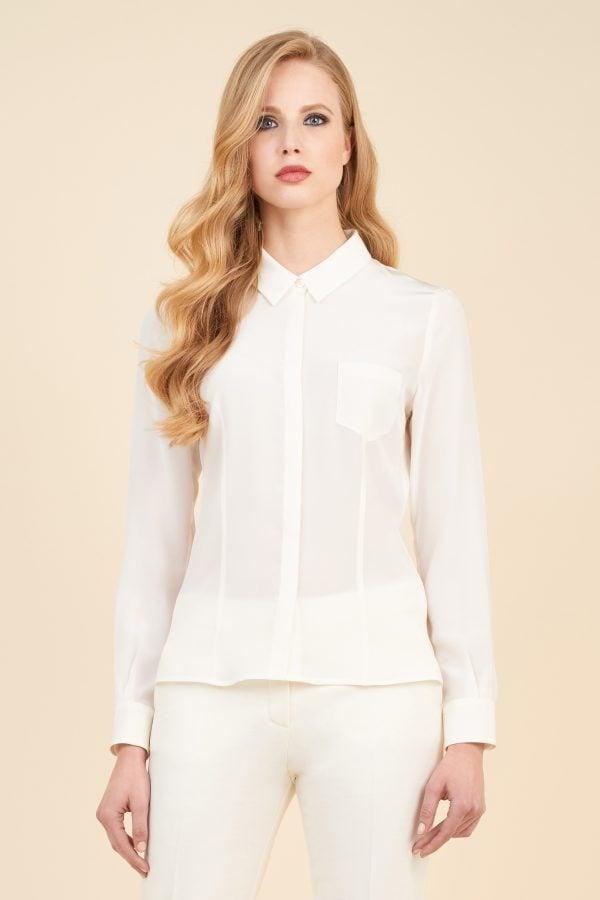 Luisa Spagnoli camicia in seta bianca con taschino laterale.