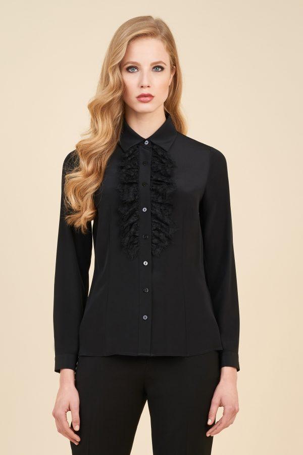 Luisa Spagnoli camicia nera con ruches.
