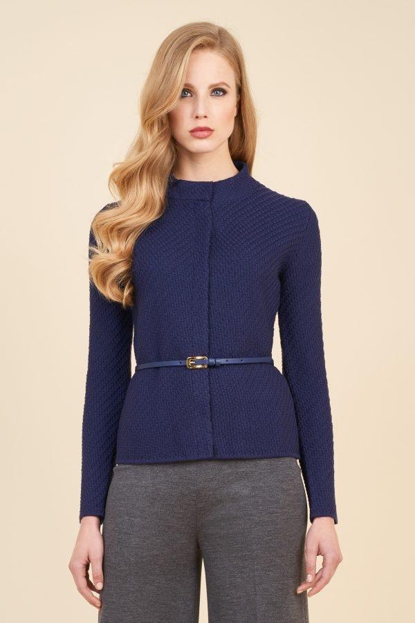 Luisa Spagnoli cardigan in maglia tricot blu con cinturino.