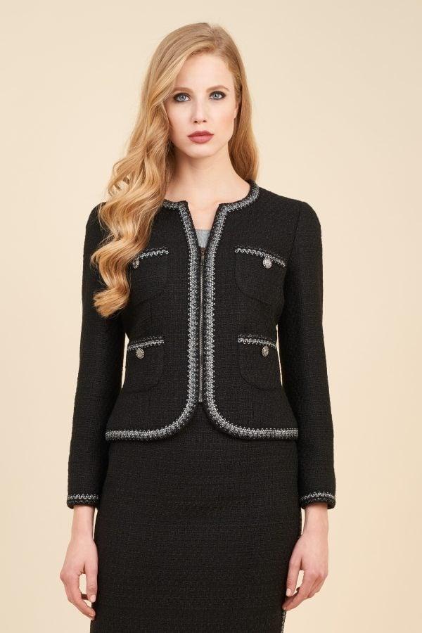 Luisa Spagnoli cardigan nero in lana con ricami in contrasto di colore.