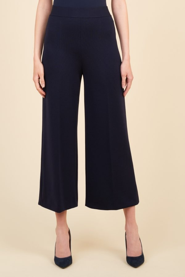 Luisa Spagnoli pantalone blu navy con elastico in vita, modello pinocchietto.