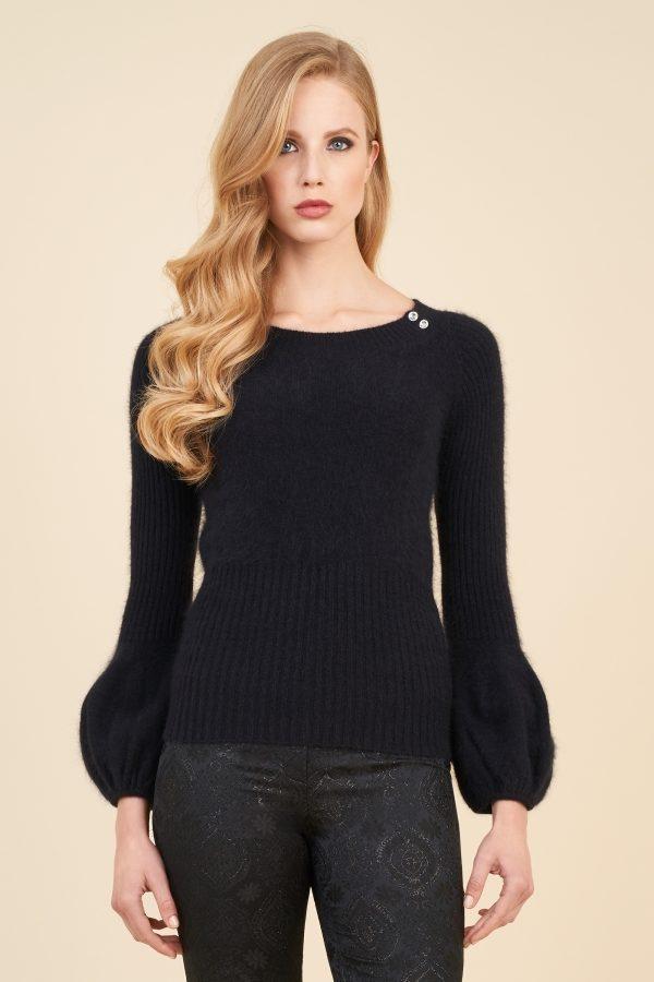 Luisa Spagnoli maglione nero in angora stretch.