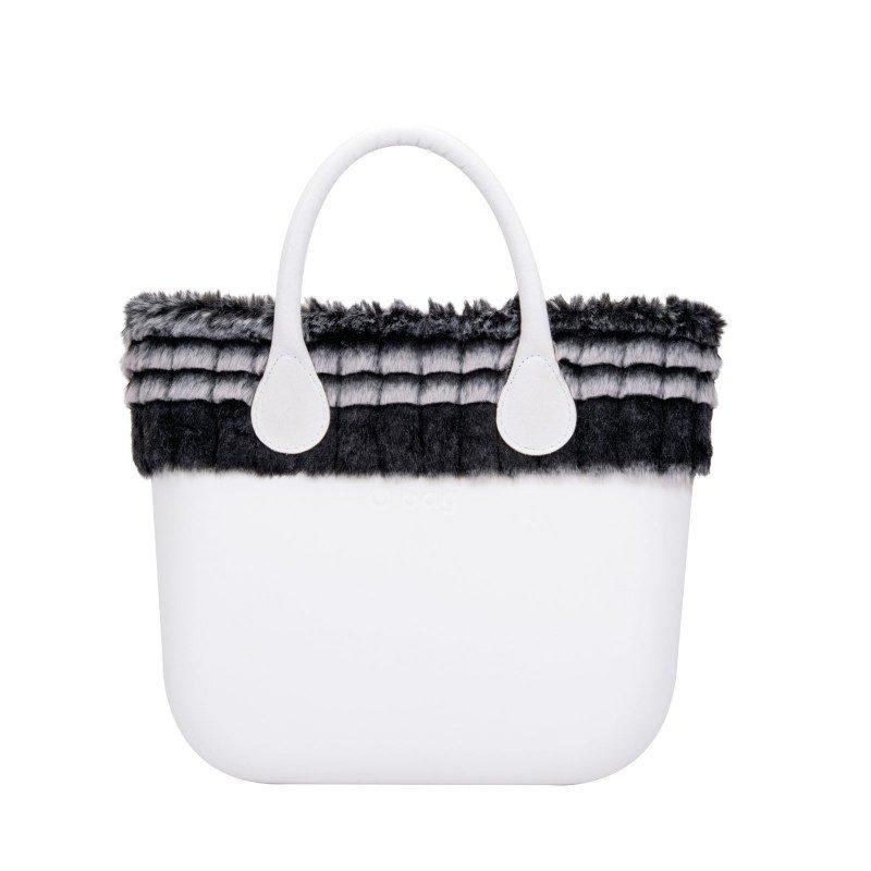 Borsa Black & white bordo ecopelliccia by O bag