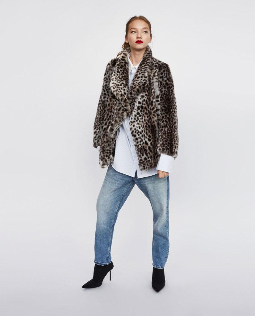 Zara pelliccia corta con stampa animalier e revers.