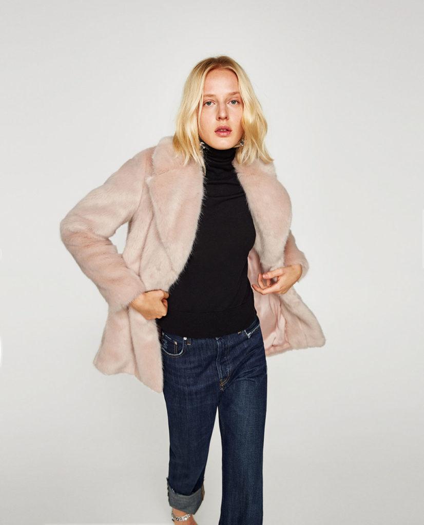 Zara pelliccia corta rosa confetto.